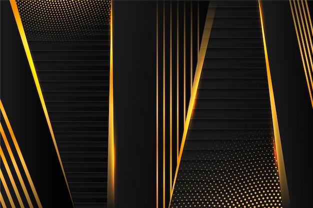 黄金の詳細と暗い紙層の背景
