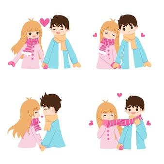 スカーフで遊ぶかわいいカップル