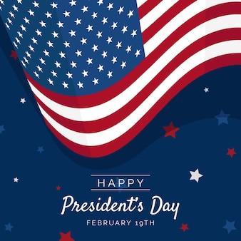 アメリカの国旗とフラットなデザインの大統領の日