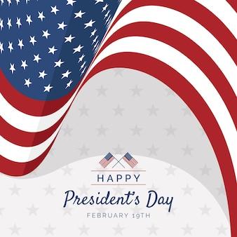 アメリカの国旗とフラットスタイルの大統領の日