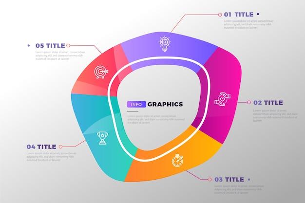 グラデーションデザインの抽象的な形のインフォグラフィック