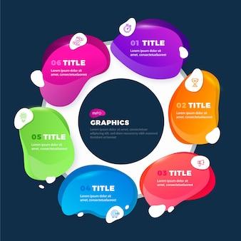 グラデーションスタイルの抽象的な形のインフォグラフィック
