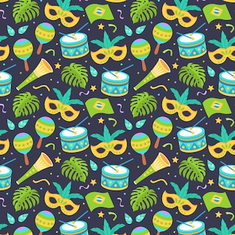 フラットなデザインのブラジルのカーニバルパターン