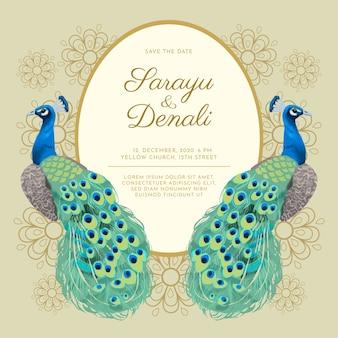 孔雀の結婚式の招待状のテンプレート