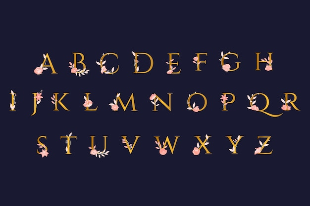 Золотой алфавит с элегантными цветами