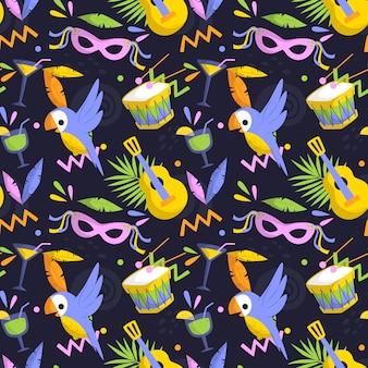 Плоский бразильский карнавальный узор с масками и птицами