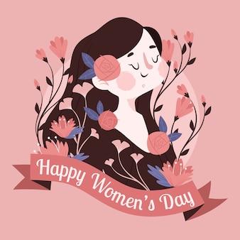 レタリングと女性の日の花のイラスト