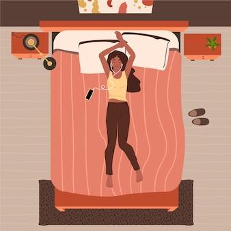Иллюстрированный человек отдыхает дома