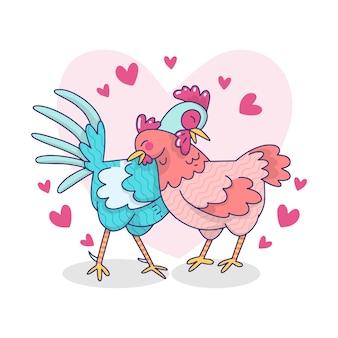 Милая иллюстрация петуха и курицы