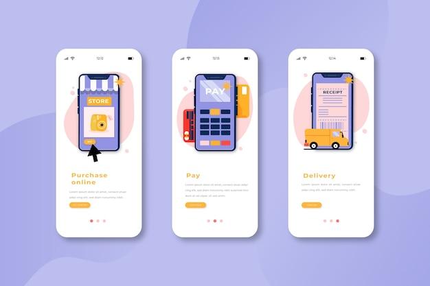 オンラインショッピングのアプリ画面のオンボーディング