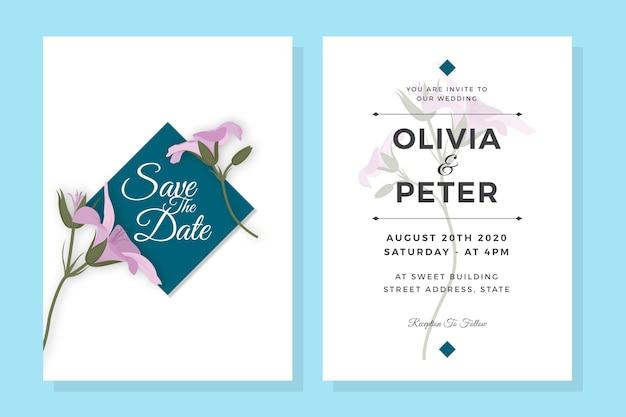 Шаблон приглашения свадебные фиолетовые цветы элегантный