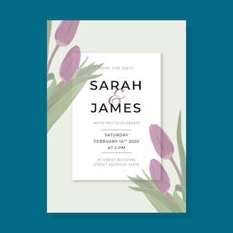 大きなチューリップの花の結婚式の招待状