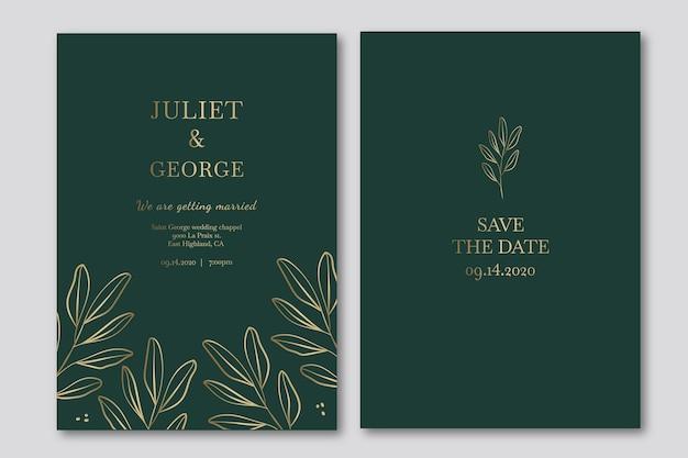 緑の色調でエレガントな結婚式の招待状のテンプレート