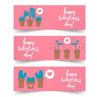 植物とバレンタインデーのバナーをレタリング