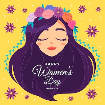 女性の日の花の花輪を持つ女性