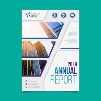 写真と抽象的な年次報告書テンプレート