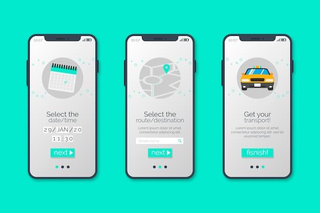 オンボーディングアプリ画面のタクシーサービス