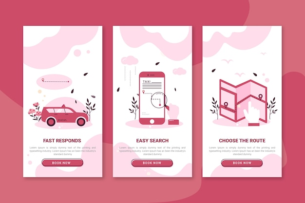 タクシーサービスのオンボーディングアプリ画面