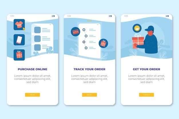 オンラインのオンボーディングアプリ画面を購入する