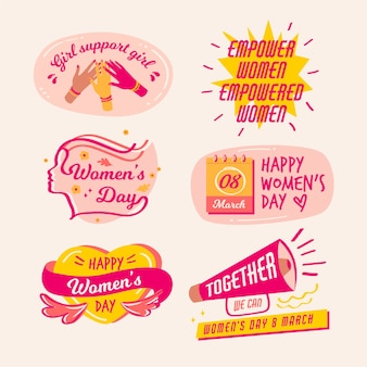 女性の日と図面のバッジコレクション