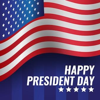 День президентов с реалистичным флагом