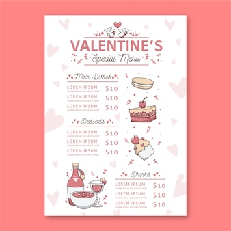 Дизайн меню ресторана день святого валентина