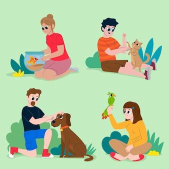 Люди с разным дизайном домашних животных