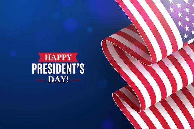 Президентский день с реалистичным флагом