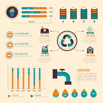 フラットなデザインエコロジーインフォグラフィック