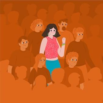 群衆の中に笑顔の人