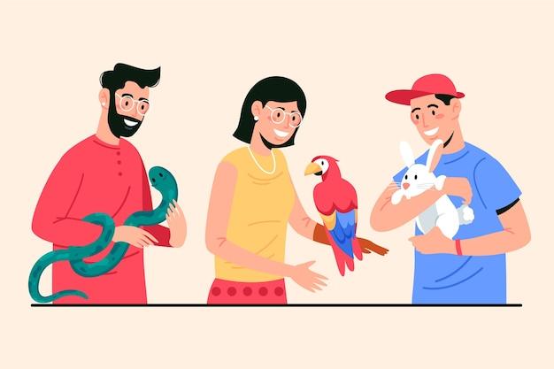 ペットを持つ人々のイラスト