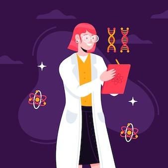 科学者の女性とイラストデザイン
