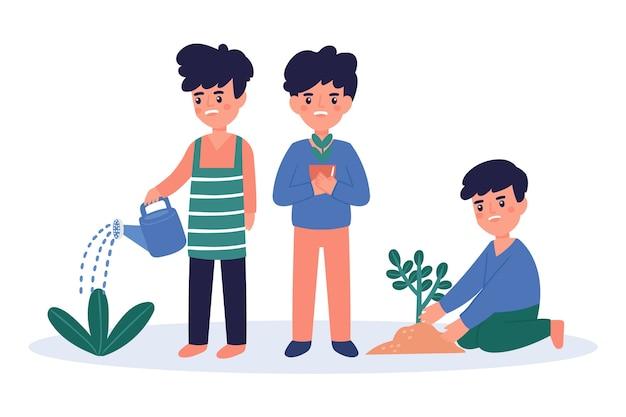 Молодые люди поливают растения