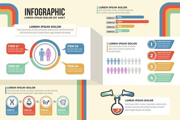 レトロな色のマーケティングインフォグラフィック