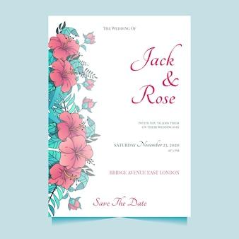 大きな花の結婚式の招待状のテンプレート