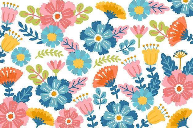 Разноцветные обои с цветочным принтом