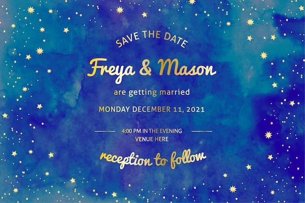 Приглашение на свадьбу акварель галактика