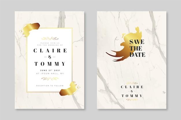金色の詳細とエレガントな大理石の結婚式の招待状のテンプレート