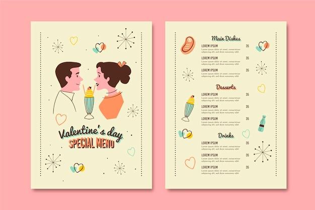 Винтажный шаблон меню день святого валентина