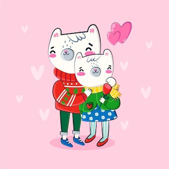動物のカップルの手描きのバレンタインの背景