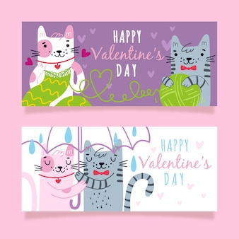 Кошачьи пара день святого валентина баннеры