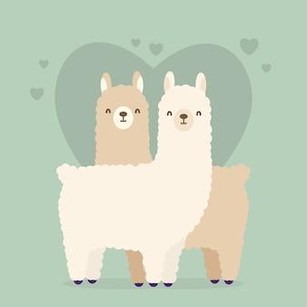 かわいいバレンタインの動物カップルイラスト