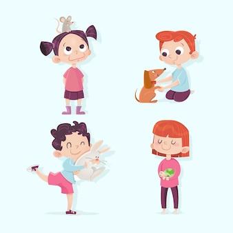Люди с разными животными иллюстрации