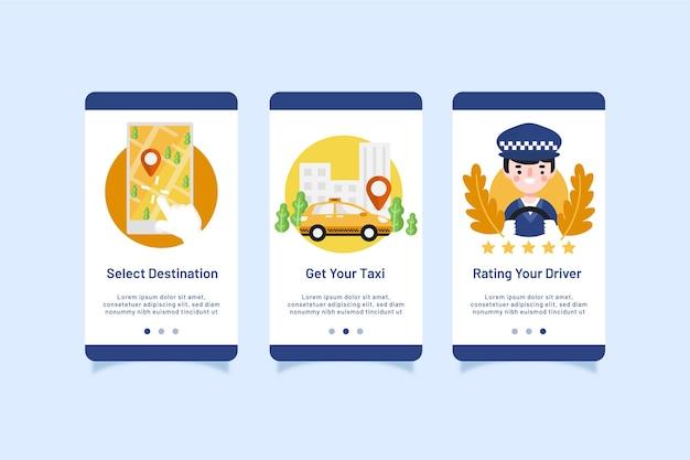 タクシーサービスのオンボーディングアプリ画面パック