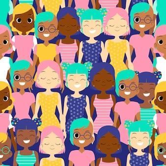 女性は女性の日のパターンデザインに直面しています。