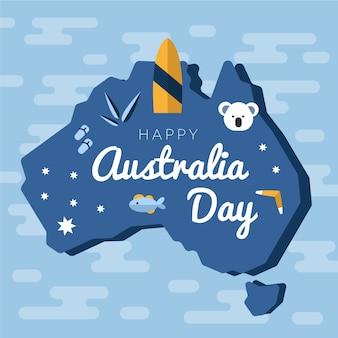 平らなオーストラリアの日のお祝いのデザイン