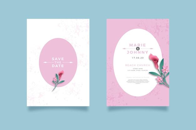 Минималистичный цветочный шаблон свадебного приглашения