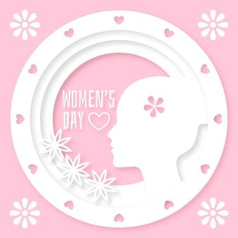 紙のスタイルコンセプトの女性の日