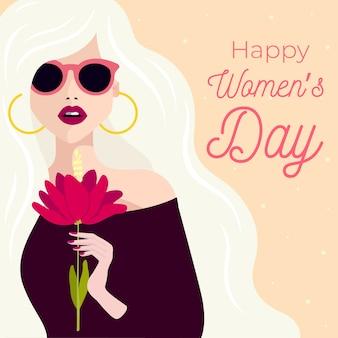 女性の日の概念の描画