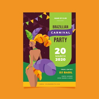 Плоский дизайн бразильский карнавал постер